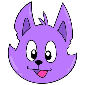 A cabeça do animal gambá sorridente. emoticon de caixa. desenho do ícone do doodle, ilustração vetorial