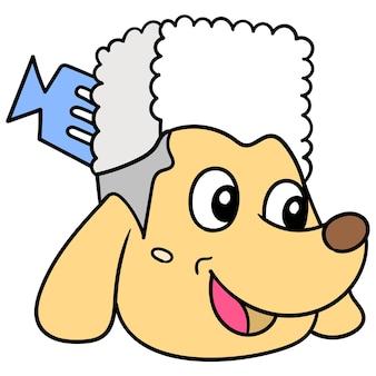 A cabeça do cão poodle senhora sorridente. emoticon de caixa. desenho do ícone do doodle, ilustração vetorial