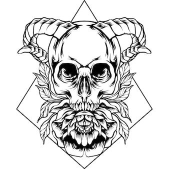 A cabeça do crânio e a silhueta da flor