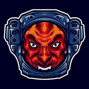 A cabeça do diabo com o capacete de um astronauta