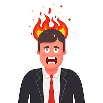 A cabeça do homem está pegando fogo. transtorno mental em humanos. ilustração plana