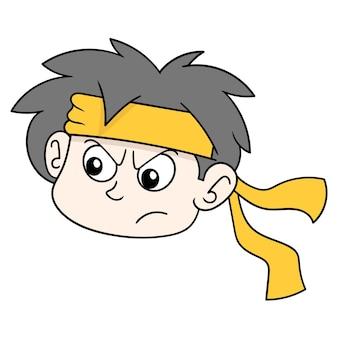A cabeça do menino guerreiro usando uma bandana, emoticon de caixa de ilustração vetorial. desenho do ícone do doodle