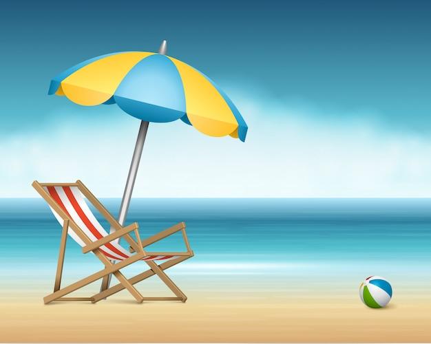 A cadeira e o guarda-chuva da espreguiçadeira do verão na praia vector a ilustração.