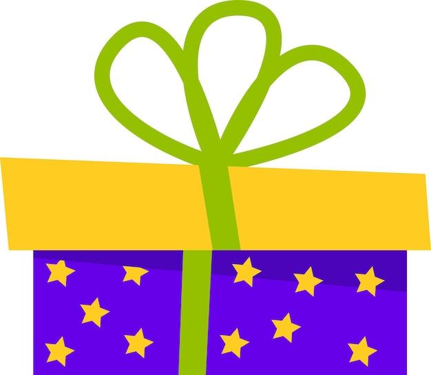 A caixa de presente é azul com um laço verde para todos os feriados