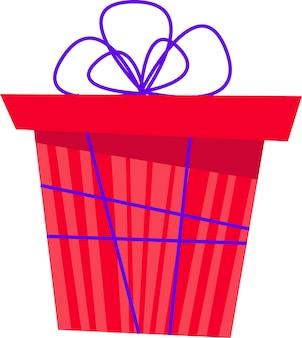 A caixa de presente é vermelha com uma fita azul e um laço para todos os feriados