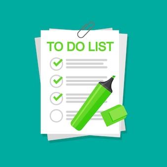 A caneta de feltro coloca uma marca de seleção nas páginas. para fazer o conceito de lista isolado.
