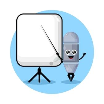 A caneta torna-se um logotipo de personagem fofo do professor