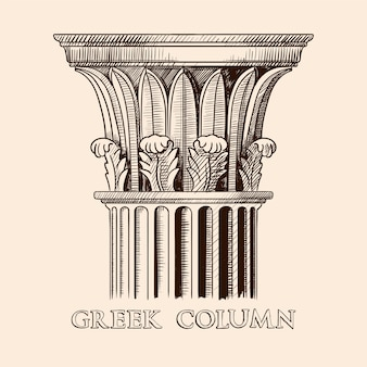A capital de uma antiga coluna grega. esboço de desenho de mão isolado em fundo bege.