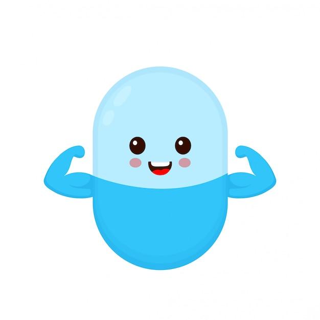 A cápsula do comprimido da medicina forte de sorriso feliz bonito mostra o bíceps do músculo. ícone de ilustração de personagem de desenho animado plana. isolado no branco comprimido, pílula, antibiótico em cápsula, médico