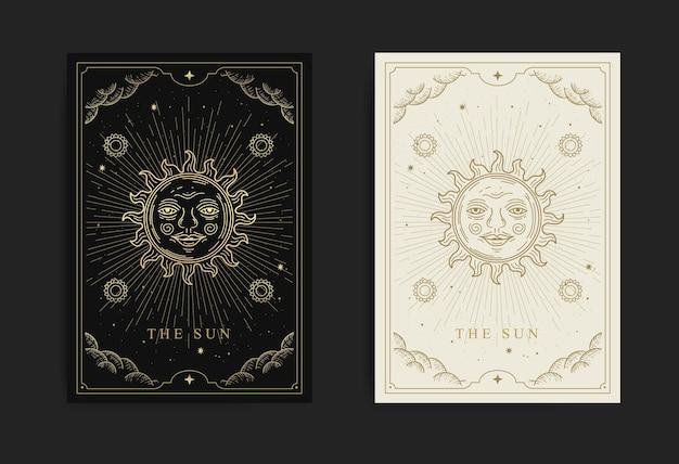 A carta do tarô solar com gravura, desenhada à mão, luxuosa, esotérica, estilo boho, adequada para paranormal, leitor de tarô, astrólogo ou tatuagem