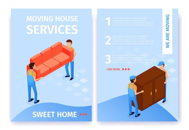 A casa movente ajustada do plano dos serviços presta serviços de manutenção aos desenhos animados home doces. Vetor Premium