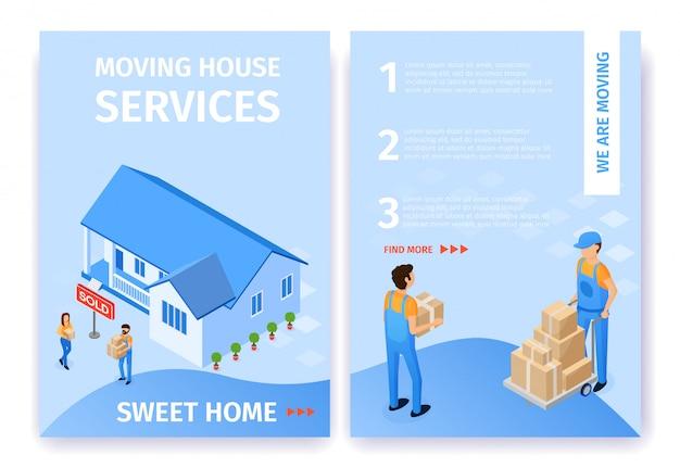 A casa movente ajustada do plano presta serviços de manutenção ao vetor home doce. Vetor Premium