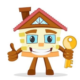 A casa nova fica de pé mostra latidos e segura a chave em um branco.