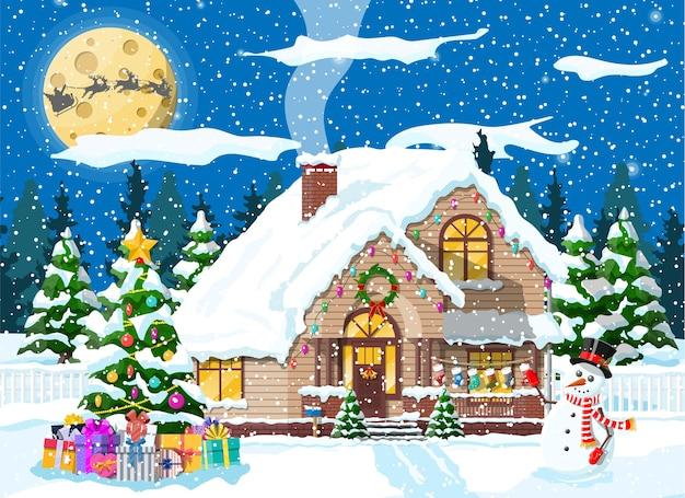 A casa suburbana cobriu a neve. edifício no ornamento do feriado. árvore da paisagem de natal, boneco de neve, renas do trenó de papai noel. decoração de ano novo. celebração de natal de férias de natal feliz. ilustração