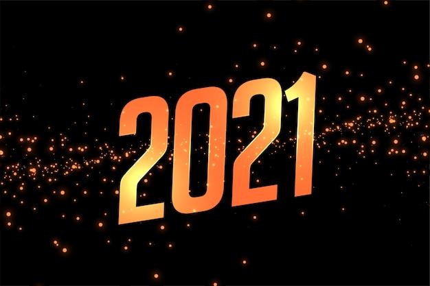 A celebração do feliz ano novo 2021 com um fundo dourado brilhante