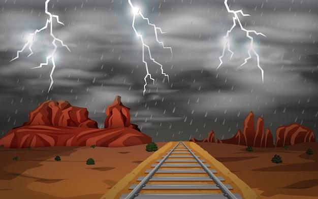 A cena da tempestade do oeste selvagem