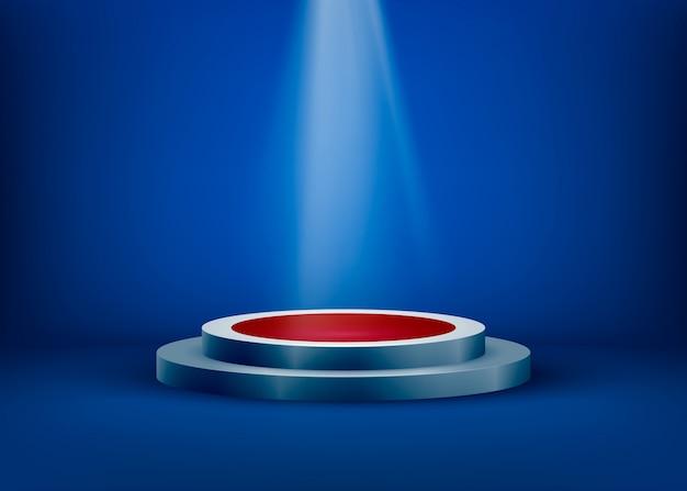 A cena vazia é iluminada pela luz de um holofote em um fundo azul. os holofotes brilham no pedestal. ilustração