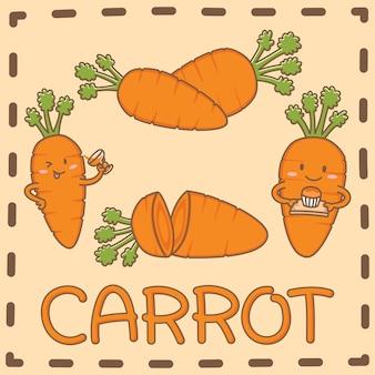A cenoura é um vetor de elementos de design de superalimento do desenho bonito de cenoura