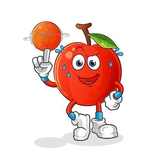 A cereja jogando mascote do basquete. desenho animado