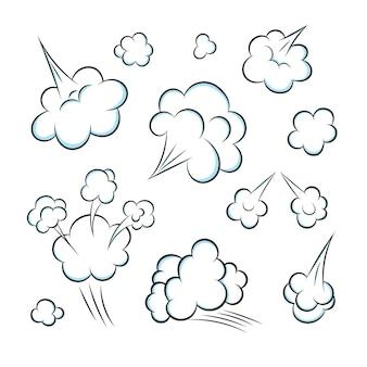 A cheirar a pop art banda desenhada cartoon peido nuvem estilo plano design ilustração vetorial