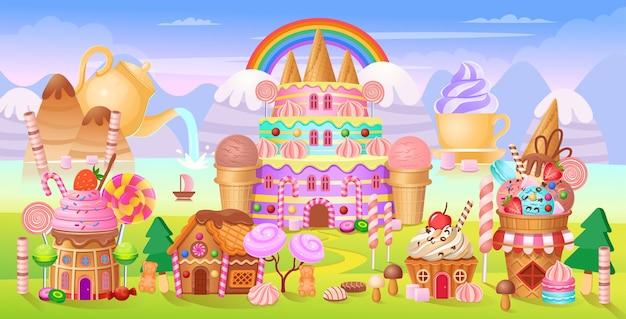 A cidade de andy com castelo de bolos, abriga bolos, sorvetes, doces, pirulitos e biscoitos.