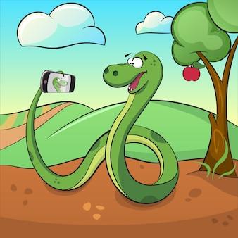 A cobra verde bonito faz selfie.