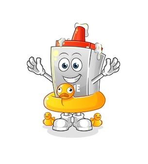 A cola com desenho de boia de pato. mascote dos desenhos animados