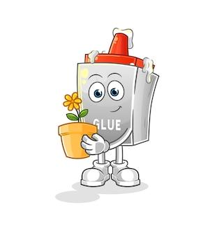 A cola com um vaso de flores. personagem