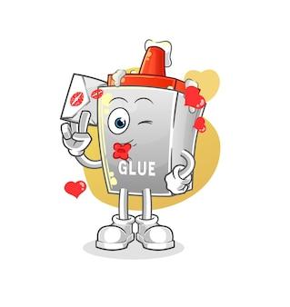 A cola segura ilustração de carta de amor. personagem