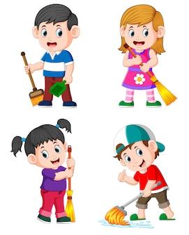 A coleção das crianças que fazem as atividades diárias da casa