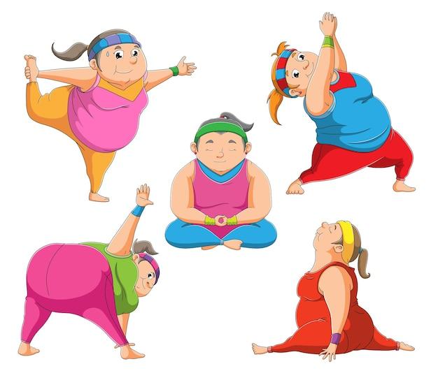 A coleção das jovens fazendo ioga de ilustração