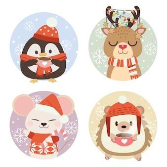 A coleção de animais fofos em círculo com neve e floco de neve.