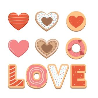 A coleção de biscoitos fofos com coração e texto para o tema do dia dos namorados