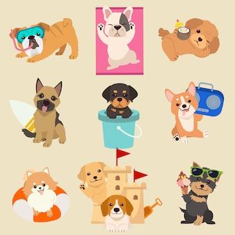 A coleção de cachorro fofo no tema do horário de verão. ilustração