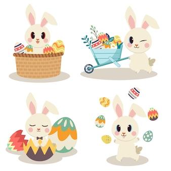 A coleção de coelho fofo com jogo de ovos de páscoa e festa.