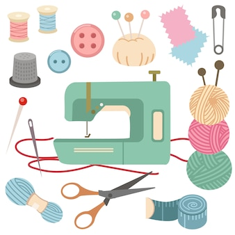 A coleção de conjunto de kit de costura.