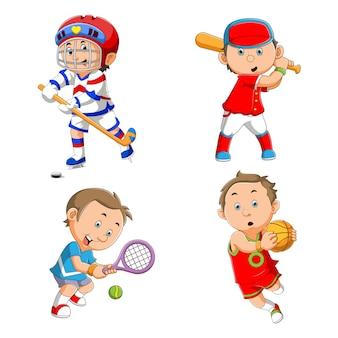 A coleção de crianças praticando vários esportes de ilustração
