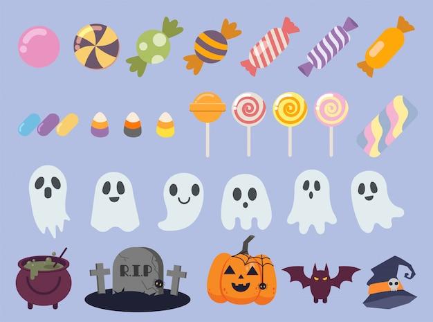 A coleção de doces fofos na festa de halloween. a coleção de fantasmas.