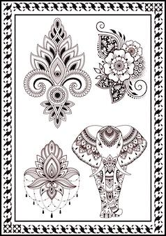 A coleção de flores africanas e elefantes na mandala é decorada com étnica indiana antiga