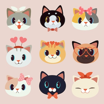 A coleção de gato bonito com acessórios em estilo simples.