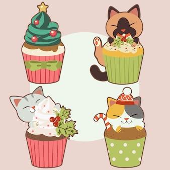 A coleção de gato bonito com bolinho no tema de natal. o personagem de gato bonito com cupcake no tema de natal. o cupcake tem creme parecido com árvore de natal e estrela e folha de azevinho e doces.