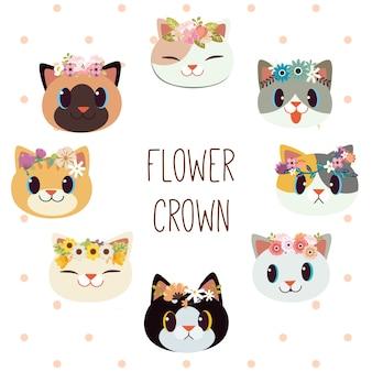 A coleção de gato bonito com coroa de flores em estilo vetorial plana.
