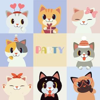 A coleção de gato bonito com os acessórios de festa em estilo simples.