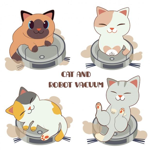 A coleção de gato bonito com vácuo robô.