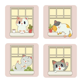 A coleção de gato bonito e amigos com janela em estilo simples.