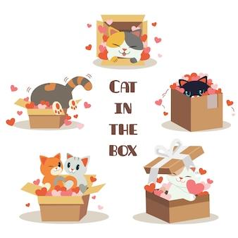 A coleção de gato bonito na caixa com muito coração no fundo branco. o personagem de gato bonito sentado na caixa com o coração. o personagem de gato bonito em estilo simples.