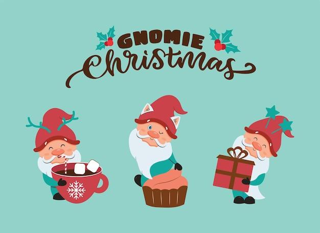 A coleção de gnomos de desenho animado com texto manuscrito o conjunto de natal e feliz ano novo