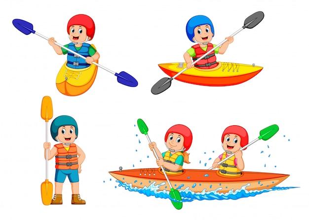 A coleção de jovem remando com canoa