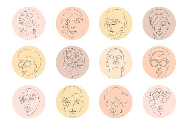 A coleção de mídias sociais destaca capas com rostos femininos.
