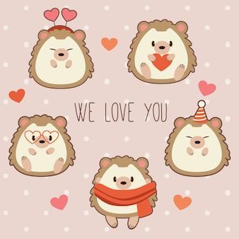 A coleção de ouriço fofo com tema de coração
